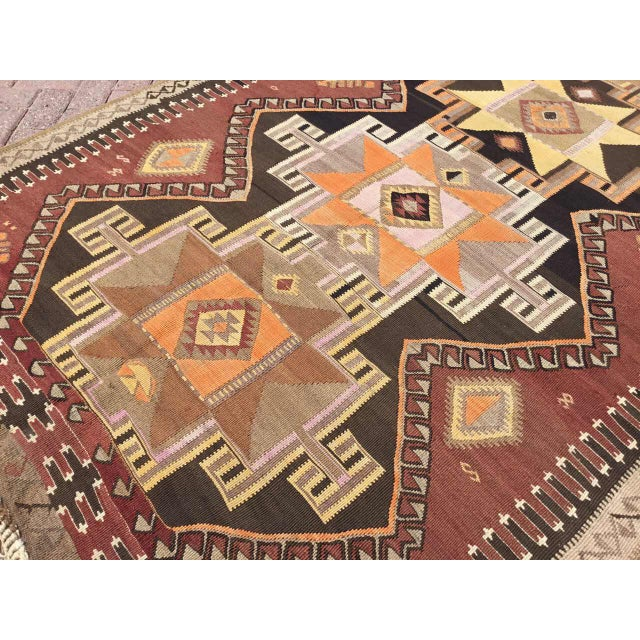 Brown Large Brown Turkish Kilim Runner For Sale - Image 8 of 11
