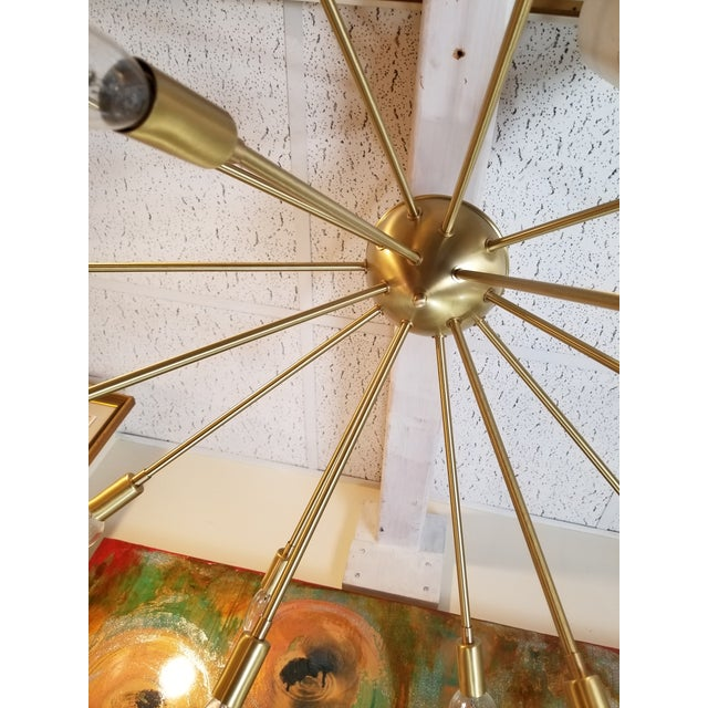Contemporary Vintage Gold Chandelier For Sale - Image 3 of 6