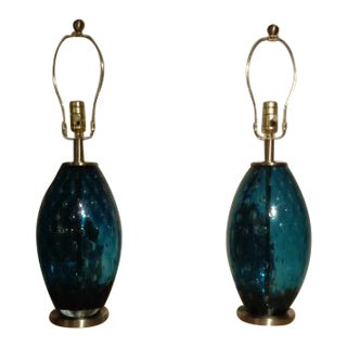 Midnight Blue Murano Glass Table Lamps - A Pair