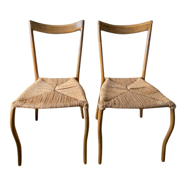 Pair, Mid Century Chairs With Rope Seats For Sale