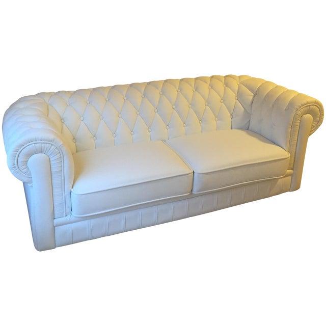 White Leather Tufted Back Sofa - Image 1 of 10