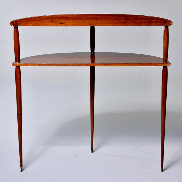 1960s Mid Century Palisander Demilune Two Shelf Console Table For Sale - Image 5 of 11