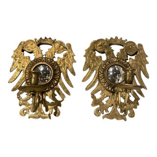 Eagle Design Gilt Bronze Sconces With Mirror - a Pair For Sale
