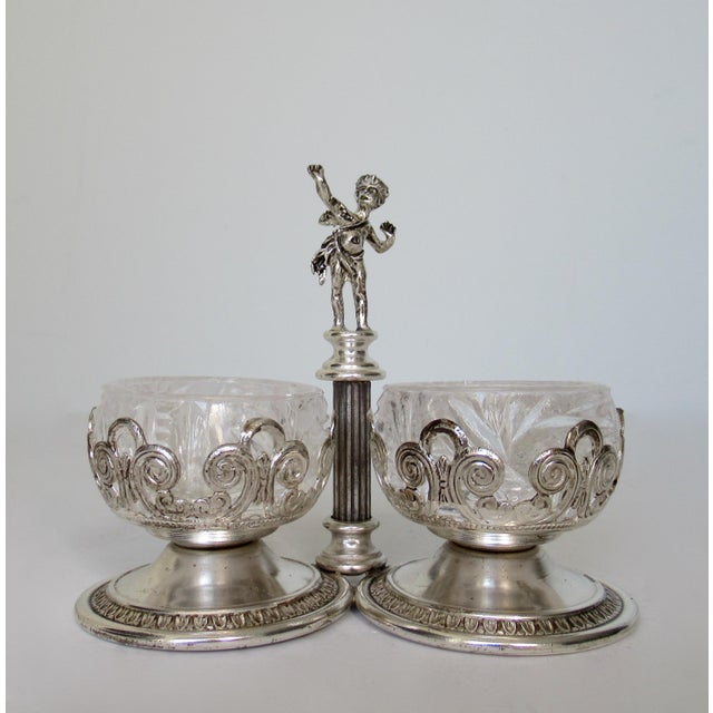 Vintage English Silver Plate Dual Salt & Pepper, Salt Serving Cellars W/Winged Cupid Figure - 3 Pieces For Sale - Image 13 of 13
