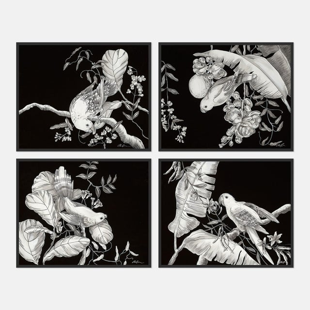 Contemporary Black & White Tropical, Set of 4 by Allison Cosmos in Black Framed Paper, Medium Art Print For Sale - Image 3 of 3