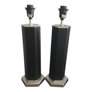 Nate Berkus Brushed Nickel and Black Leather Octogon Table Lamps - a Pair For Sale
