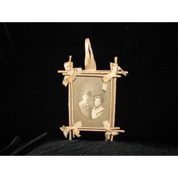 Folk Art Victorian Twig & Silk Frame For Sale - Image 3 of 4