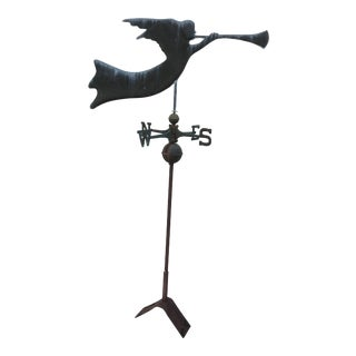 Antique Horn Blowing Angel Weathervane With Stand