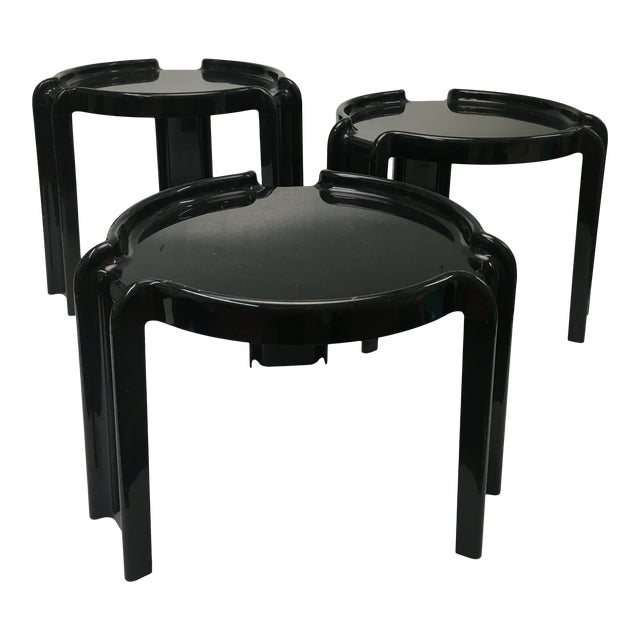 Vintage Black Plastic Nesting Tables by Giotto Stoppino for Kartell - Set of 3 For Sale