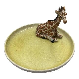 1970s Italian Ceramic Giraffe Figure on Handpainted Serving Plate For Sale