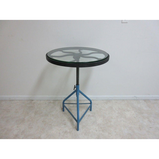 1990s Antique Industrial Gear Metal Tripod Lamp End Table Stand For Sale - Image 5 of 11