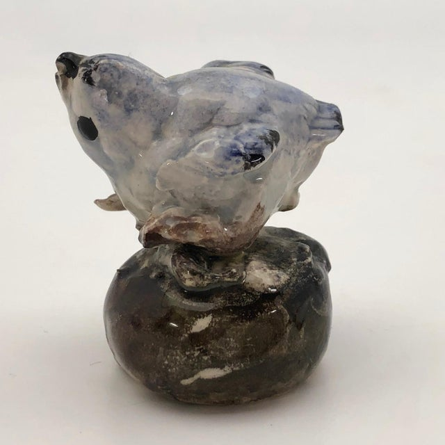 Figurative Hand Sculpted Ceramic Baby Bluebird Figurine For Sale - Image 3 of 12