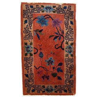 1920s handmade Chinese Art Deco rug 2,5' X 4,2'
