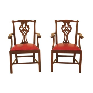 1990s Vintage Henkel Harris Model #101 Mahogany Arm Chairs- A Pair For Sale