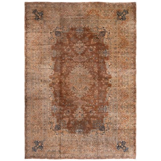 Antique Yazd Traditional Blue and Caramel Wool Rug with All-Over Floral Patterns For Sale