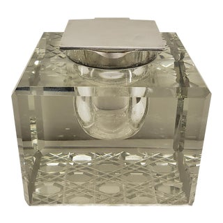 1930's English Art Deco Mappin & Webb Sterling Silver/Cut Glass Inkwell For Sale