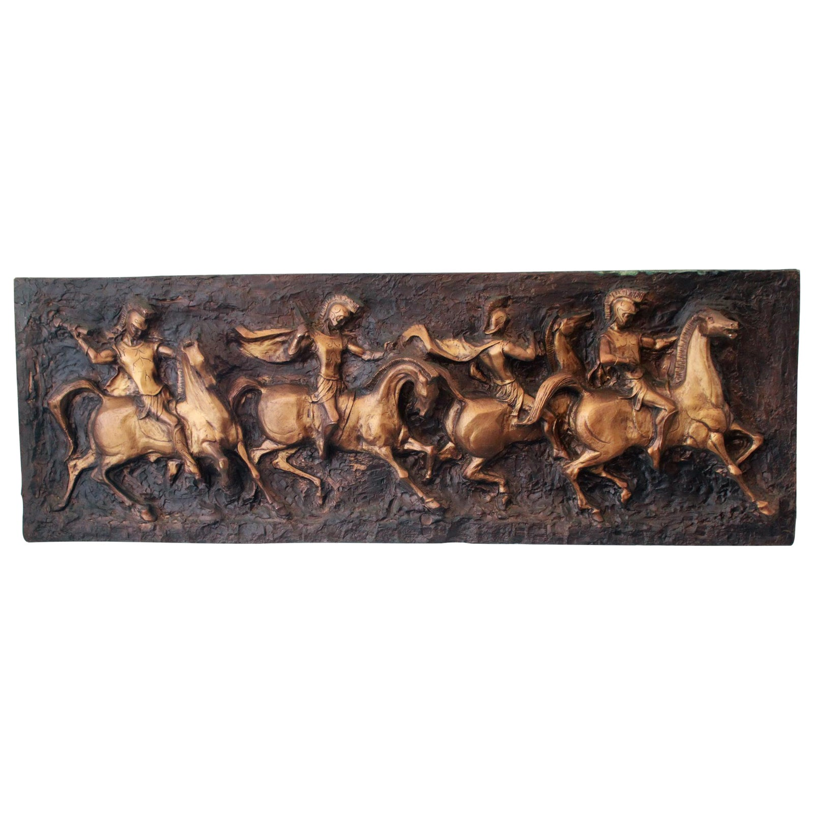 Mid Century Modern Finesse Originals Greek Warrior Horses Wall Art -