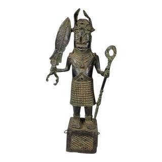 African Art Tribal Art Benin Bronze Warrior Statue/Sculpture
