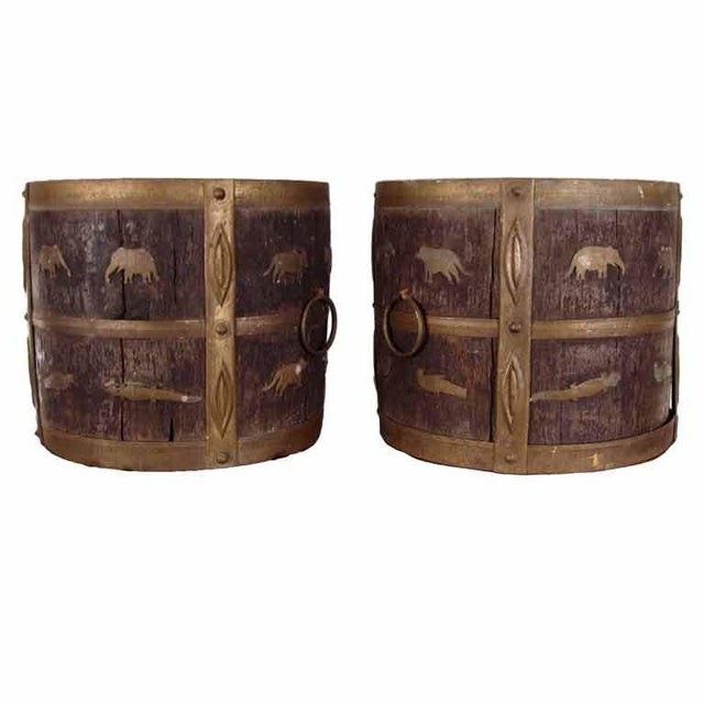 1930s Antique Oak & Brass Jardinieres - a Pair For Sale In New York - Image 6 of 6