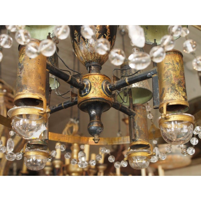 Mid 18th Century 18th Century French Tole and Crystal Chandelier For Sale - Image 5 of 11