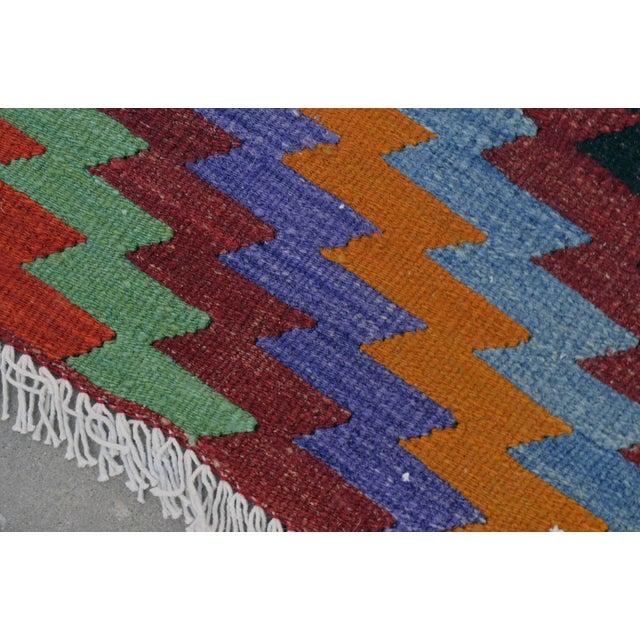 Turkish Wool Zig-Zag Kilim - 5′9″ × 9′7″ - Image 2 of 9