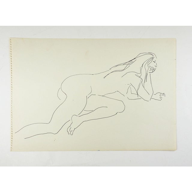 Contemporary Vintage Pen & Ink Female Nude Drawing Study For Sale - Image 3 of 3