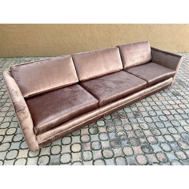 Restored Selig Tuxedo Sofa in a Velvet Brown For Sale - Image 12 of 12