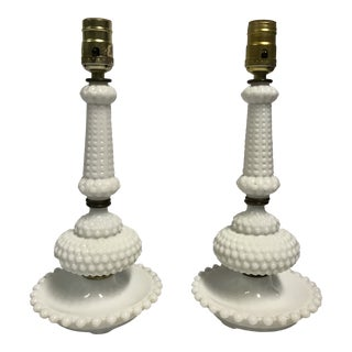 Vintage Hobnail Milk Glass Table Lamps - a Pair For Sale