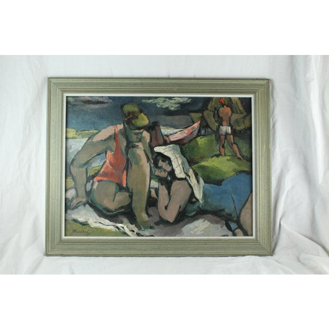 """Mid 20th Century """"Beach Figures"""" Oil Painting by Frederick Buchholz For Sale - Image 5 of 6"""