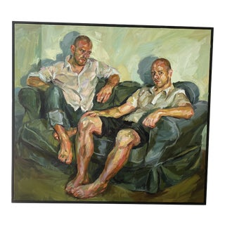 "Contemporary Oil Painting by Paul Wright, ""Double Self Portrait"" For Sale"