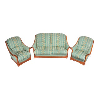 Vintage French Country Style 3-Pc Two Seater Sofa and Two Side Chairs For Sale