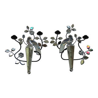 French Maison Bagues Style 1960's Murano Mirrored Eglomise Parrot Sconces Opposing Face!- a Pair For Sale