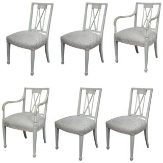 Swedish Gustavian Painted Dining Chairs - Set of 6 For Sale