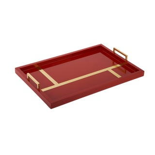 Flair Collection Righe Tray in Cinnabar / Brass For Sale