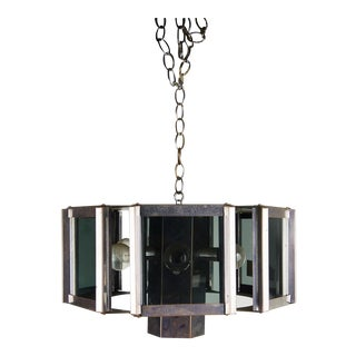 Fredrick Ramond Mid-Century Chrome and Glass Chandelier