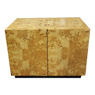 1970s Milo Baughman For Thayer Coggin Burl Wood Nightstand For Sale
