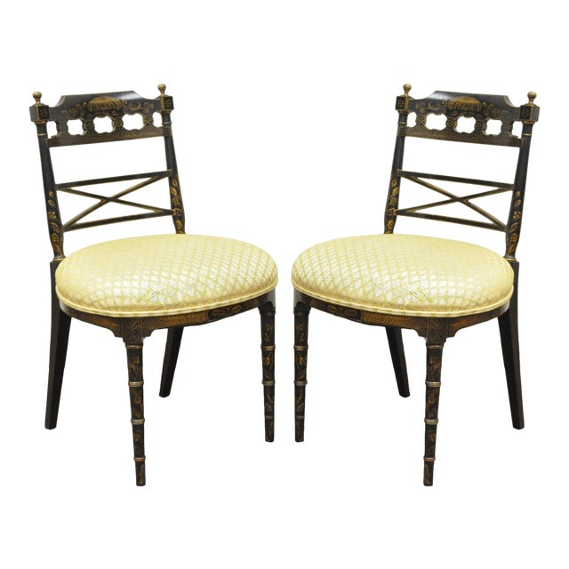 Pair of Antique Chinoiserie Oriental Japanned Black Painted Pagoda Side Chairs For Sale