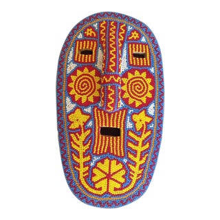 Mexican Huichol Hand Beaded Folk Art Mask For Sale