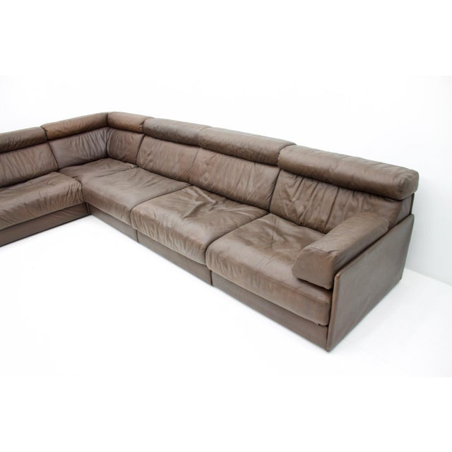 Mid-Century Modern Large Modular Leather Sofa in Dark Brown Leather by De Sede, Switzerland, 1970s For Sale - Image 3 of 11