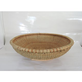 "Vintage 'Luzon Mountain' - Cane and Bamboo Grain Storage Bowl Basket or Tray 22"" Preview"