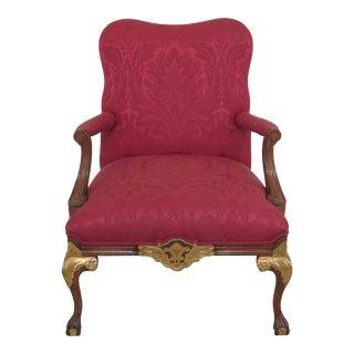 Modern Clawfoot Georgian Style Open Armchair For Sale