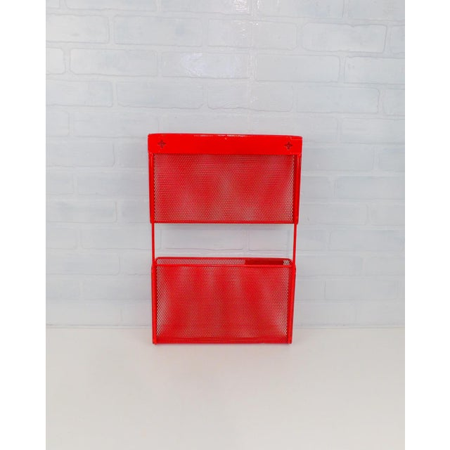 Vintage Red Metal Wall Mounted Organizer Mail Sorter Letter Holder - Image 2 of 9