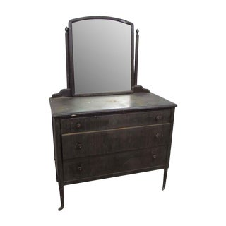 Stripped Metal Dresser With Mirror