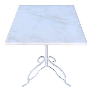 Marble Top Wrought Iron Pedestal Table For Sale