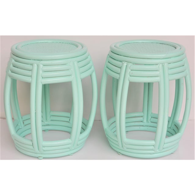 Boho Chic Handwoven Rattan Painted Barrel Tables / Stools - a Pair For Sale - Image 3 of 7