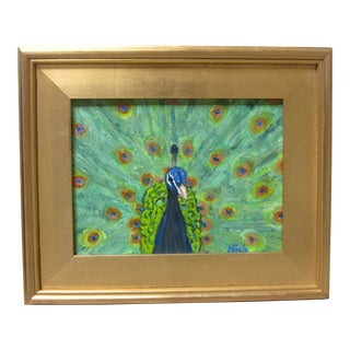Peacock Oil Painting Original Art Signed Contemporary For Sale