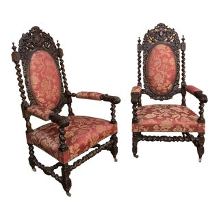 Pair 19th Century French Hand Carved Renaissance Armchairs For Sale