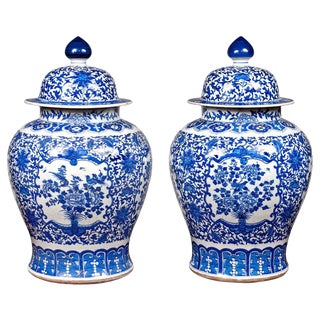 Pair of Large 20th Century Blue and White Porcelain Temple Jars For Sale