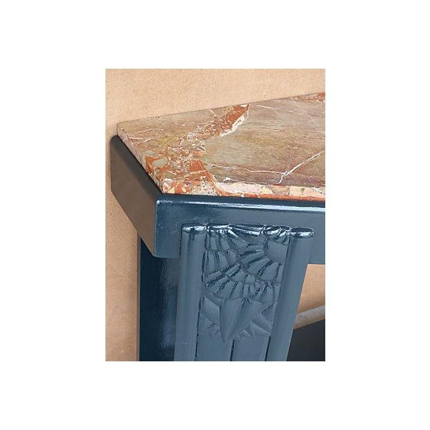 Art Deco Painted Wood Console with Marble Top - Image 5 of 8