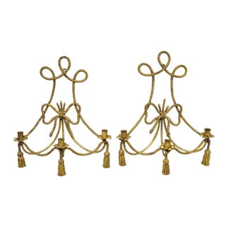 Mid 20th Century Italian Gold Gilt Rope Tassel Wall Sconce Candle Holders - a Pair For Sale